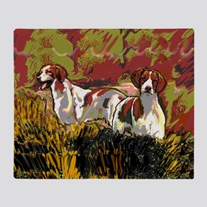 Brittany spaniels in the field Throw Blanket